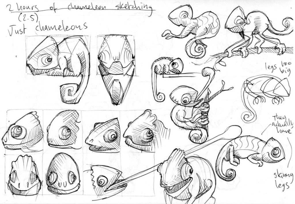 Ideation sketches for Chameleon artefact 1